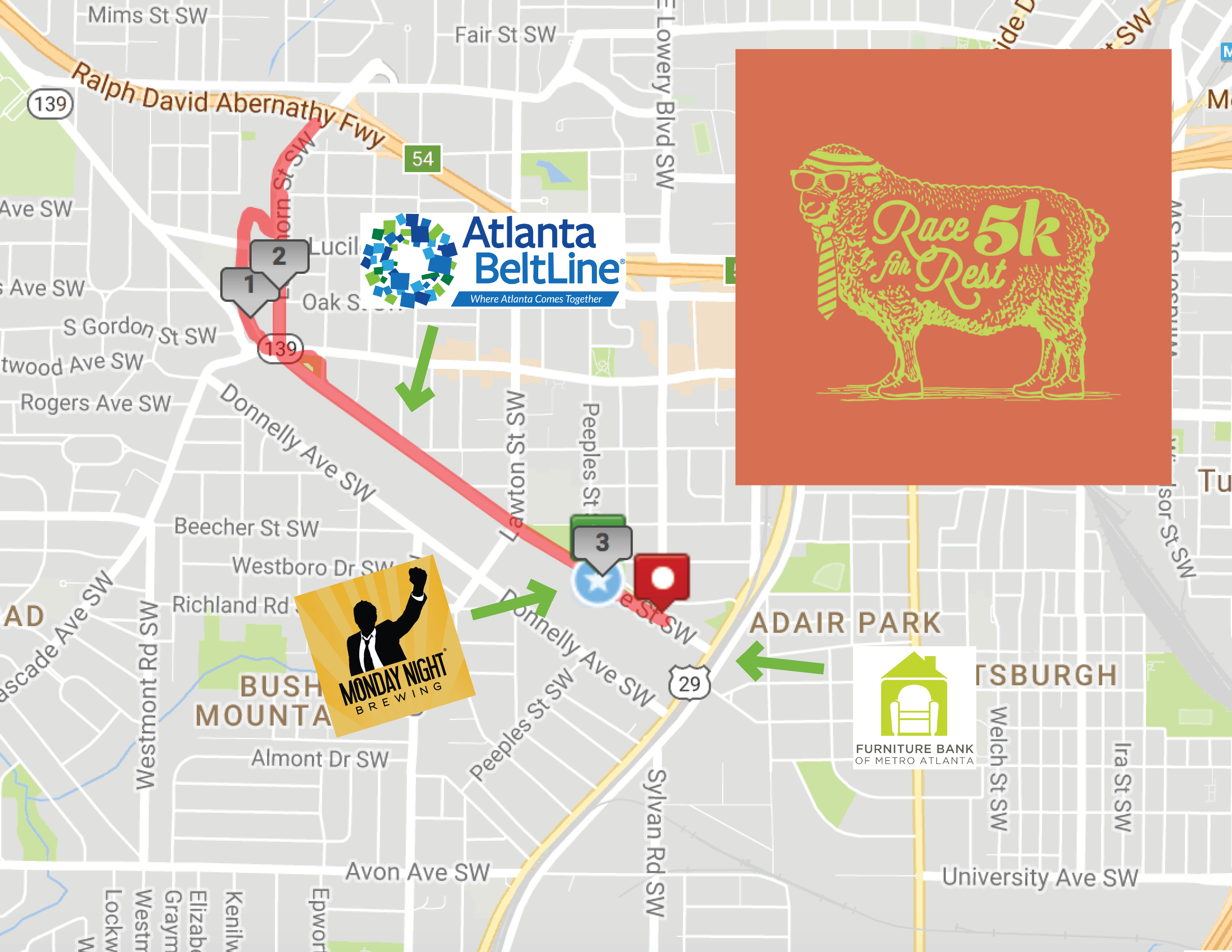 Wonderful 2017 5K Course Map U2022 The Furniture Bank Of Metro Atlanta The Furniture Bank  Of Metro Atlanta